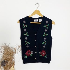 Tabi | Embroidered Christmas Sweater Vest | XS